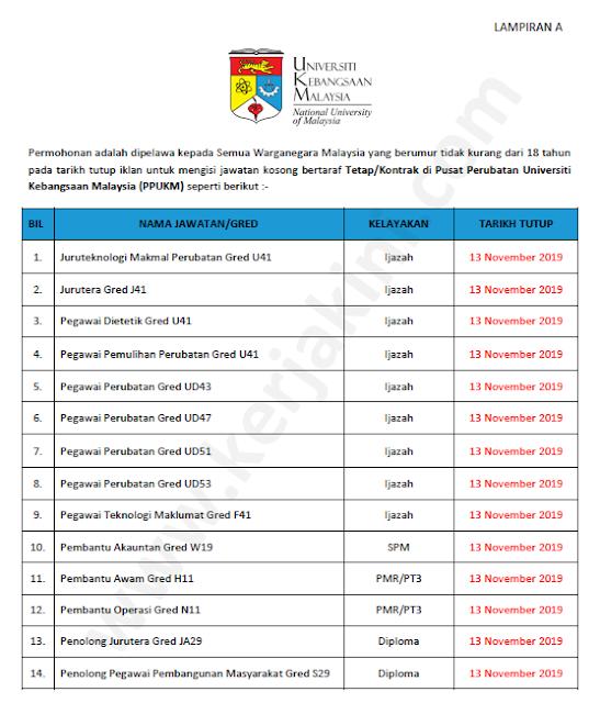 pusat perubatan universiti kebangsaan malaysia jawatan kosong