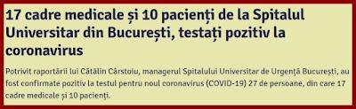 care cazuri de coronavirus sunt la spitalul universitar bucuresti