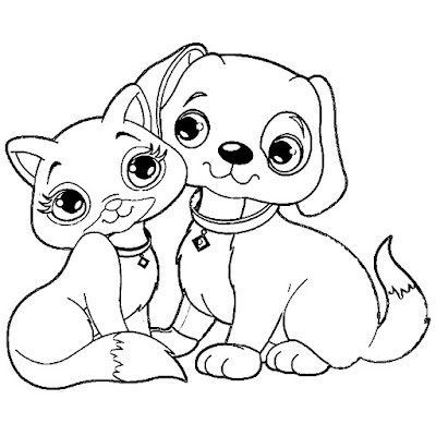 Coloring Pictures Cats And Dogs Collection Images