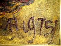"Detail Tanda Tangan Pelukis Affandi Tahun: 1977 Judul : "" Bunga Matahari "" Ukuran : 90cm X 140cm Media : Oil on Canvas"