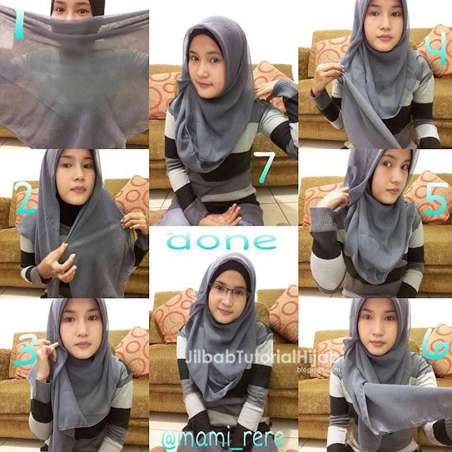 Tutorial Hijab Segi Empat untuk Sehari-hari simple untuk ke kantor