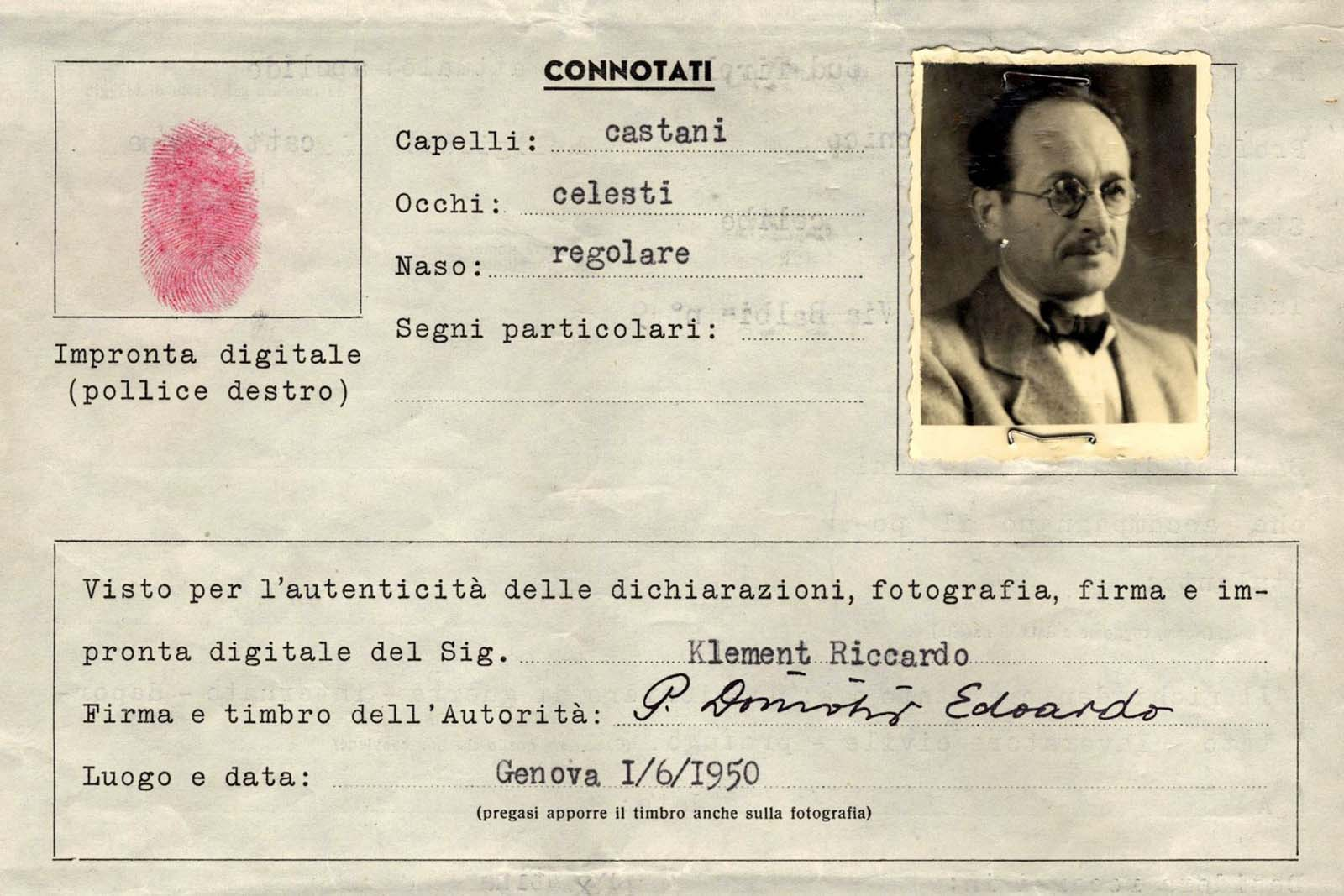 An image of a Red Cross Travel Document created for one Ricardo Klement, an alias of Adolf Eichmann. This document enabled Eichmann to leave Europe via Italy and travel to Argentina.