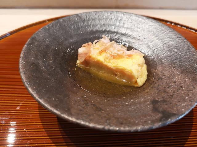 Tamago (Japanese Omelette) in Dashi Stock topped with Katsuobushi (Skipjack Tuna)