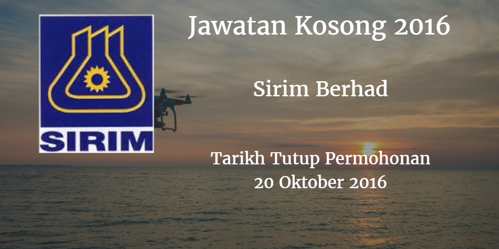 Jawatan Kosong Sirim Berhad 20 Oktober 2016