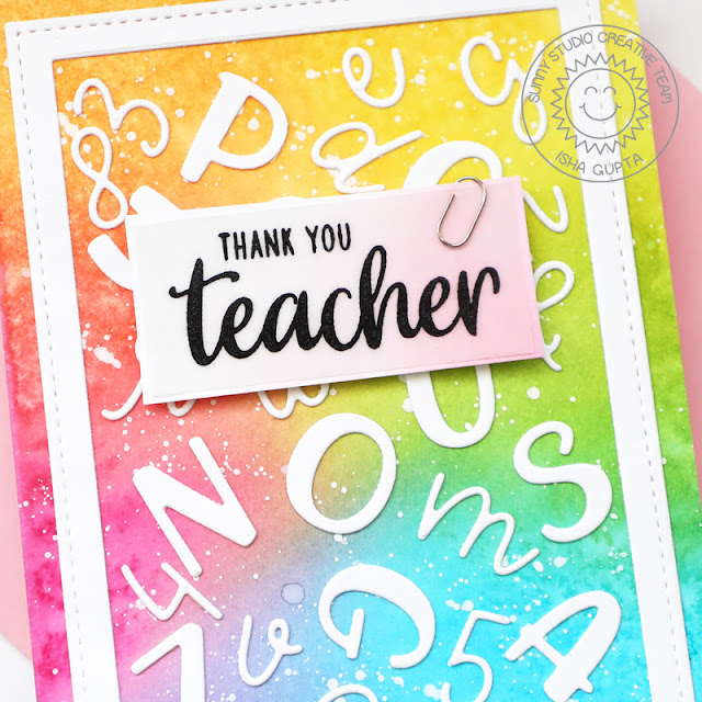 Sunny Studio Stamps: Teacher Appreciation Stitched Rectangles Chloe Alphabet Dies Teacher Card by Isha Gupta