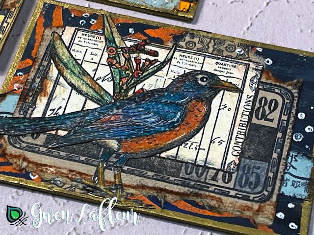Collaged Robin ATC with EGL19 - Gwen Lafleur