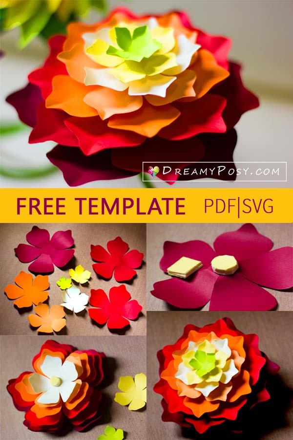 Rolled Paper Flower Template Lorey Toeriverstorytelling Org