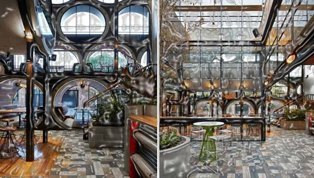 Techne Architects' plan, The Prahran hotel is situated in Melbourne, Australia. The massive concrete pipes are used in its making. The pipe compartments classify linen and leather fabric and create 3 stages. After the renovation, the rearmost pub offers histrionic appearance.