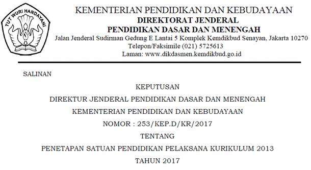 SK Dirjen Dikdasmen Tentang Penetapan Satuan Pendidikan Pelaksana Kurikulum 2013 Tahun 2017