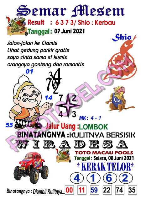 Syair Toto Macau Semar Mesem selasa 08 juni 2021