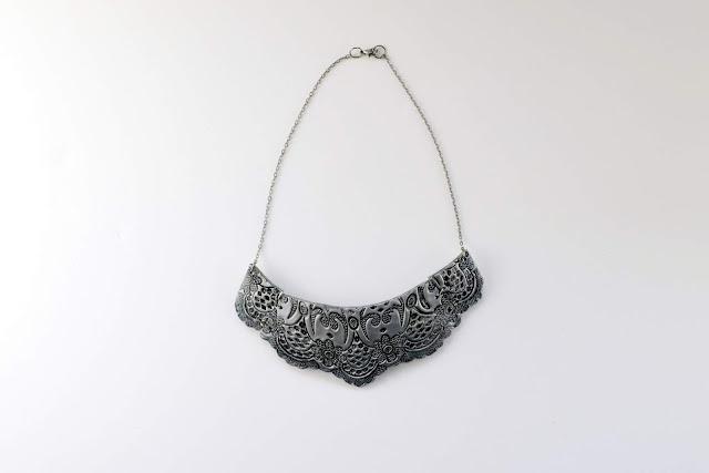 collar encaje imitació plata arcilla polimérica