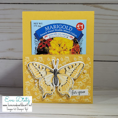 Bumblebee Seed Pocket Card with large yellow butterfly on fron