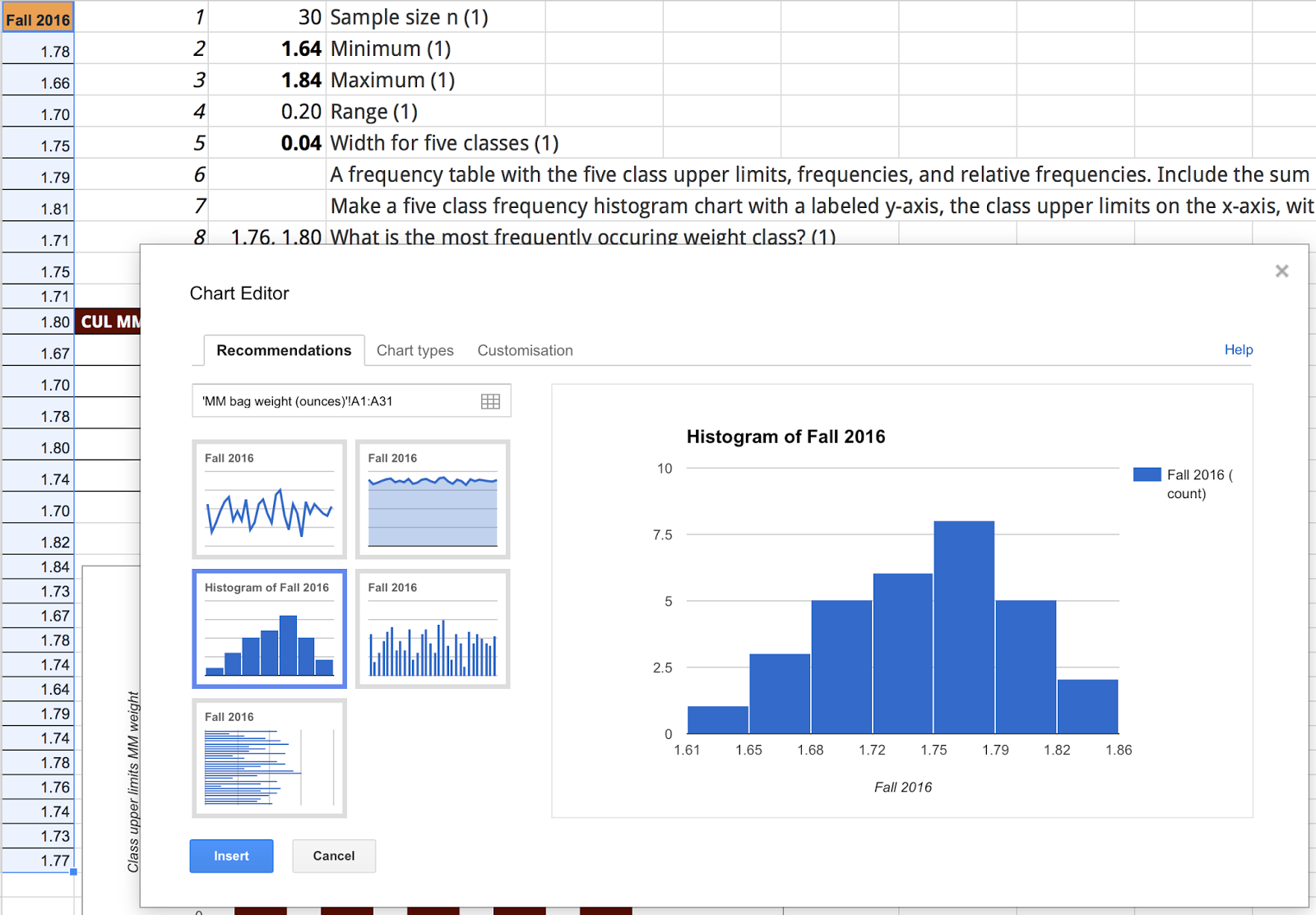 Creating histograms with Google Sheets
