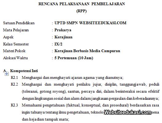 Rpp Prakarya Kelas 9 Smp Mts Semester 2 K13 Revisi 2020 Websiteedukasi Com