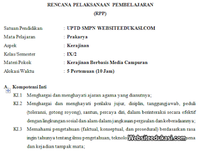 RPP Prakarya Kelas 9 SMP/MTs Semester 2 K13 Revisi 2020