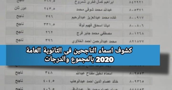 كشوف اسماء الناجحين فى الثانوية العامة 2020 بالمجموع والدرجات