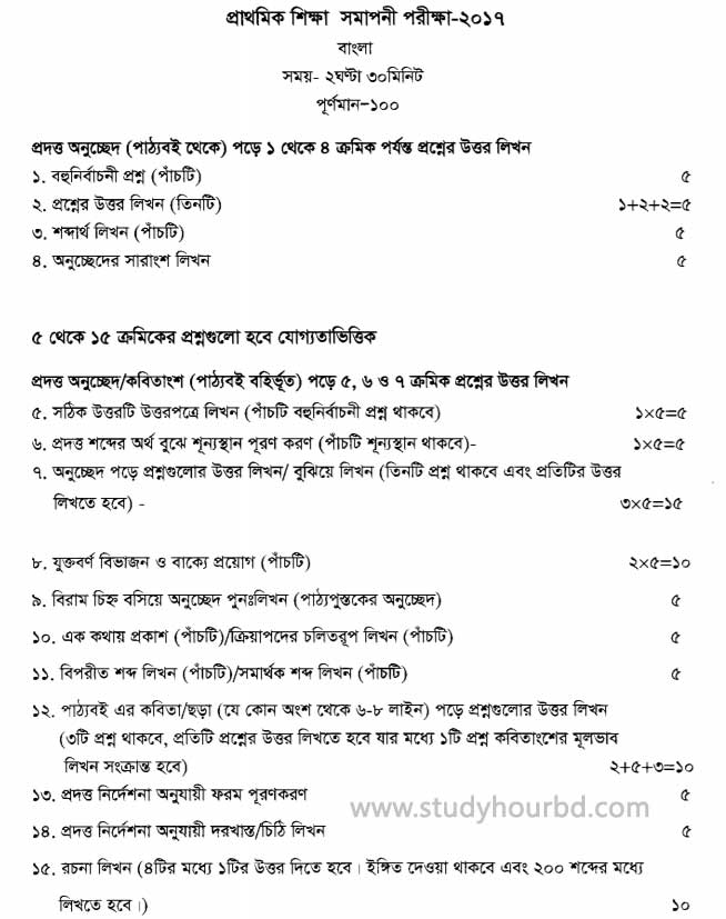 PSC Bangla Question Pattern 2018