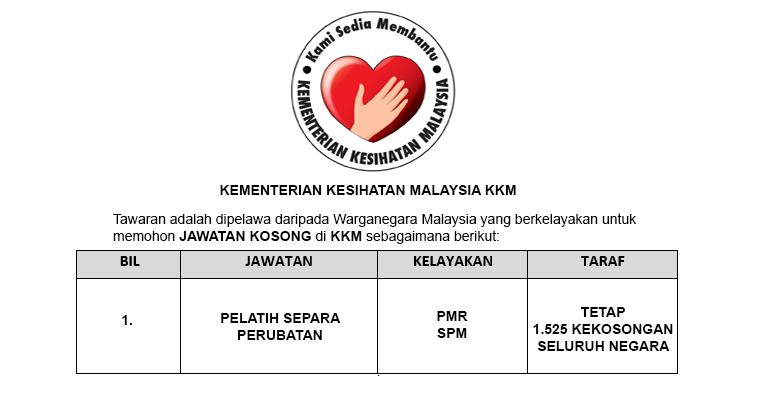 Pengambilan Terkini Pelatih Kementerian Kesihatan [ 1,515 Kekosongan | PMR & SPM Layak ]