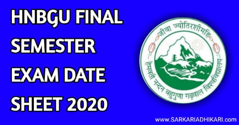 HNBGU Released UG Final Semester Date sheet 2020 Schedule Hindi