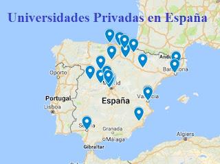 Mapa de Universidades privadas en Espaa  Universidades privadas