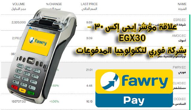ماهي علاقة مؤشر إيجى إكس 30 - EGX30 بشركة فوري لتكنولوجيا المدفوعات