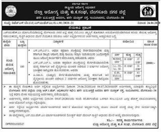 DHFWS Bangalore District Junior Health Assistant Male Recruitment 2020 133 Govt Jobs