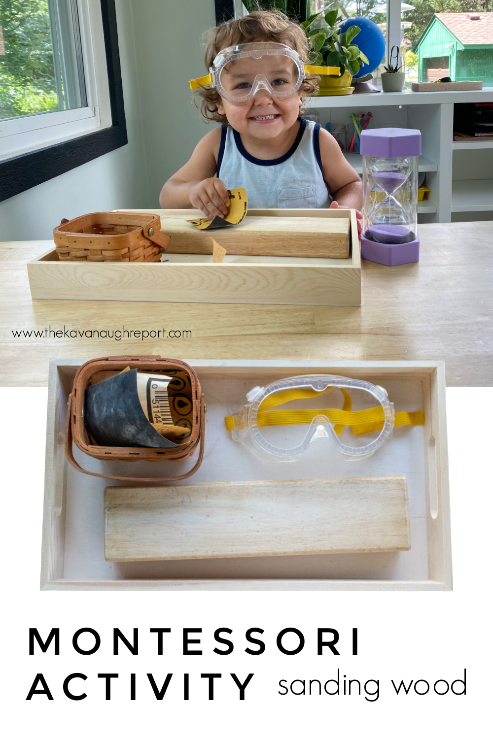 An easy Montessori practical life activity for 3-year-olds. Sanding is easy to put together and a fun learning activity and start to woodworking.