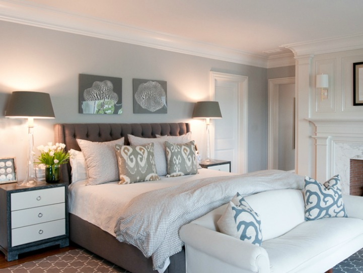 Spotted from the crow 39 s nest beach house tour coastal for Blue and taupe bedroom ideas