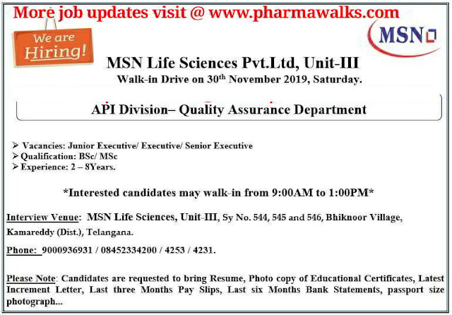 MSN Life Sciences walk-in interview for Quality Assurance on 30th Nov' 2019