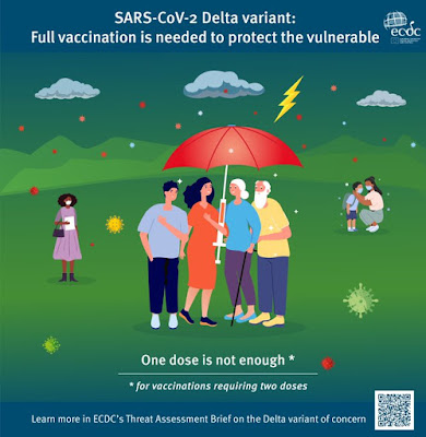 European CDC advice lovely image of lady with syringe handled umbrella, shielding others from the weather with her