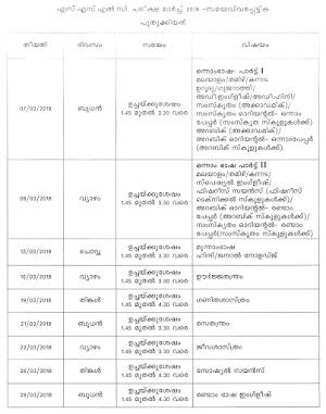 Kerala SSLC Examination 2018 revised timetable