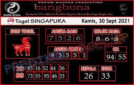 Prediksi Bangbona SGP Kamis 30 September 2021