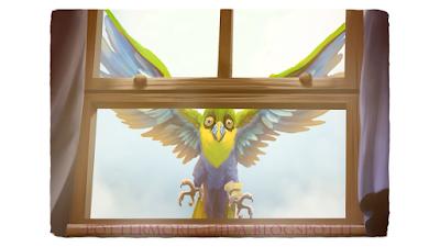 Variopinto uccello tropicale, usato da Sirius come postino