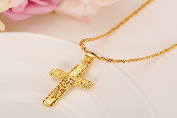 kalung salib bahan emas 24 karat