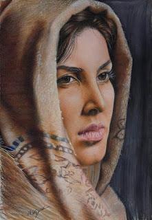 الفنانه ليلى بلوكـات بالاقلام الخشبية
