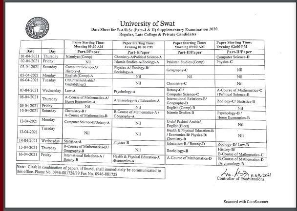 University Of Swat BA BSc date Sheet Supplementary 2020