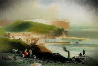 Whitehaven, with St Bees Head by W.H Bartlett, 1840