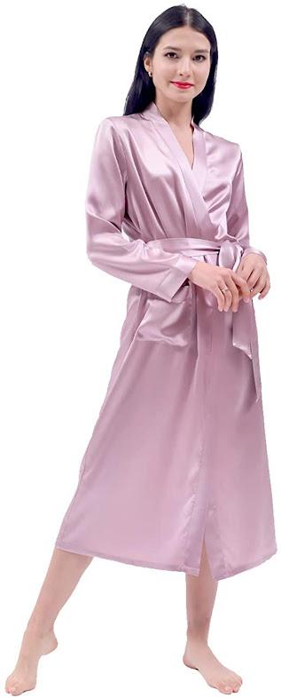 Long Silk Pink Robes For Women