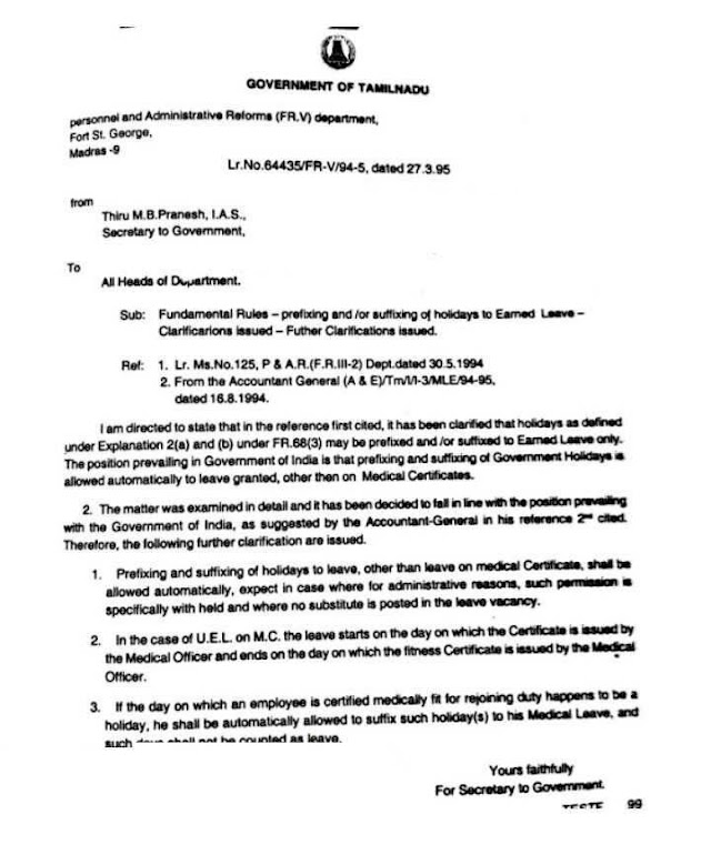 Medical Leave Regards Clarification - Government Letter NO : 64435/FR-V/94-5