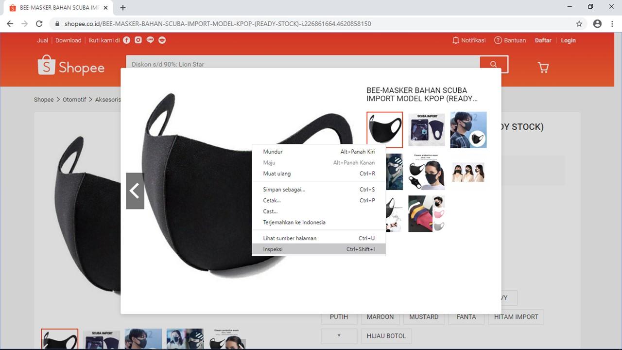 Cara Download Gambar di Shopee Melalui PC