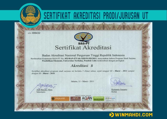 Sertifikat Akreditasi Prodi Jurusan UT