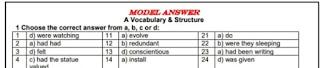 أقوي إختبارات بنموذج الإجابات الصحيحة في اللغة الإنجليزية للصف الثالث الثانوي