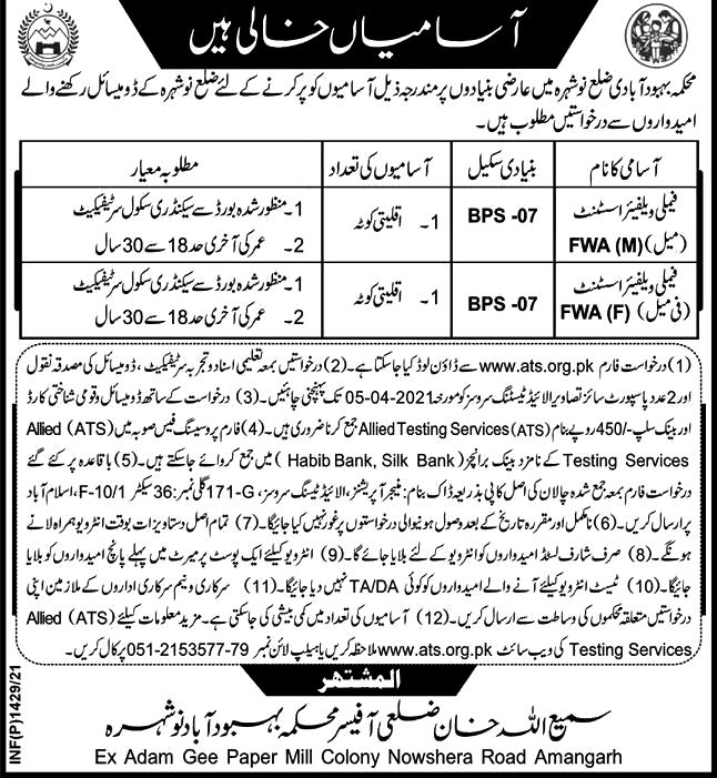 Latest Jobs in Population Welfare Department 2021 -Download Application Form ATS