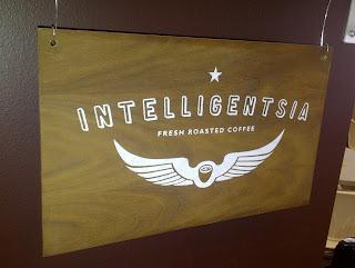 Wooden Intelligentsia Coffee sign