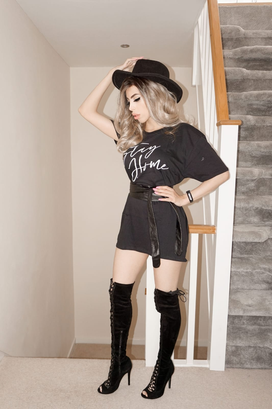 The Femme Luxe Black 'Stay Home' Slogan Print T-Shirt in model Giana.