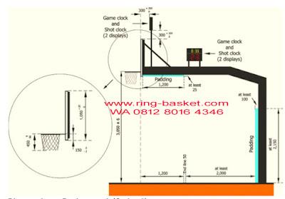 jarak tiang basket ke garis lapangan basket