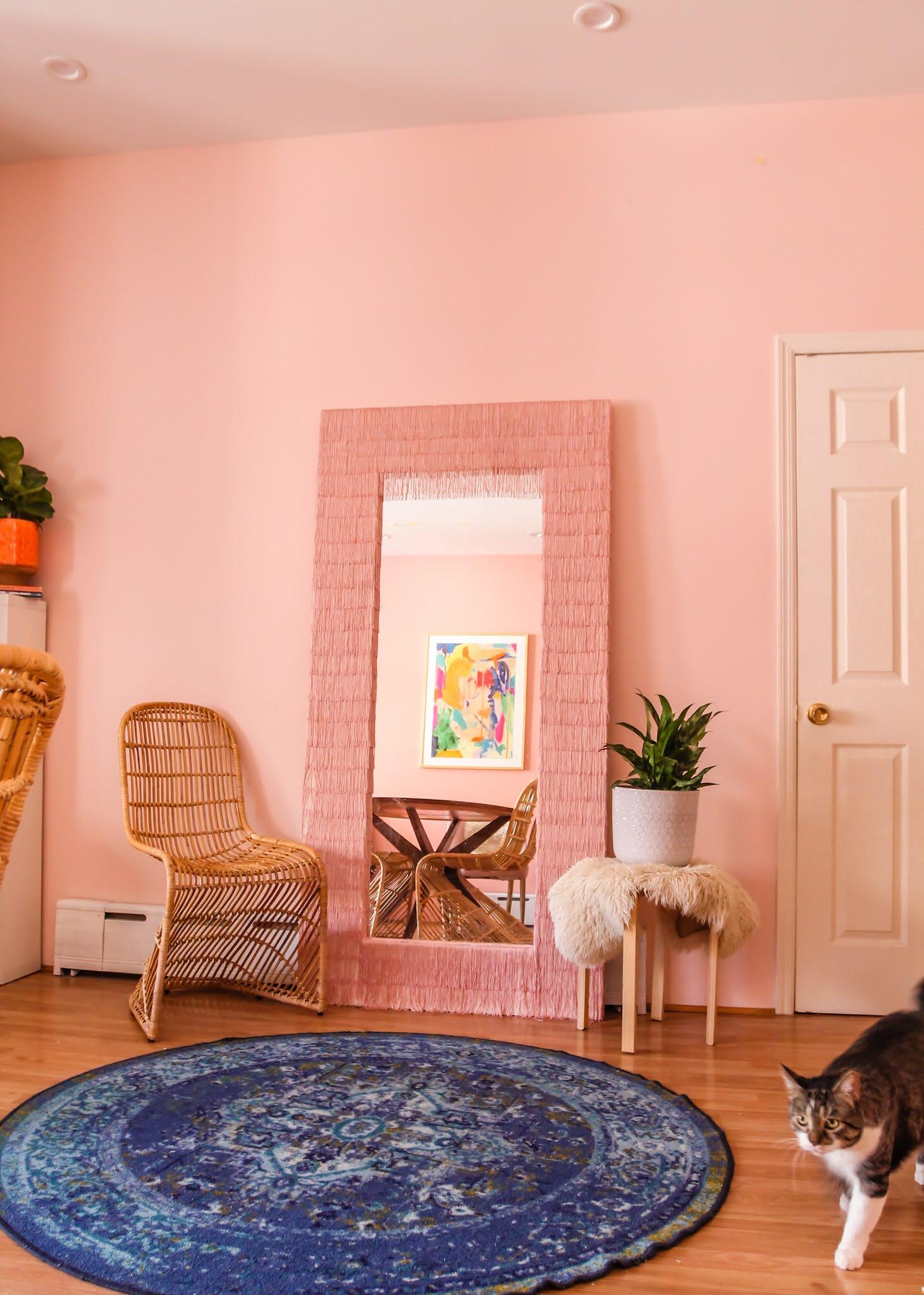 Ikea Hack // Ikea Mirror Hacks // Fringe Mirror // DIY fringe mirror // DIY floor length fringe mirror // floor length fringe mirror // pink fringe mirror // fringe diy // Megan Zietz // tfdiaries // easy ikea mirror epicycle // easy ikea mirror hack // easy ikea hacks // colorful homes // pink mirror // diy pink mirror // fringe mirror tutorial // budget friendly mirror diy // ikea mongstad mirror diy // ikea mongstad mirror hack // ikea mongstad // pink mirrors // pink floor length mirror