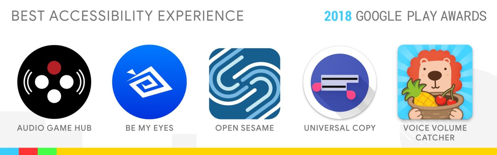 Best Accessibility Experience: Audio Game Hub, Be My Eyes, Open Sesame, Universal Copy, Voice Volume Catcher