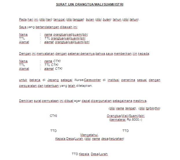 Inilah Contoh Surat Ijin Untuk Tki Yang Perpanjang Kontrak
