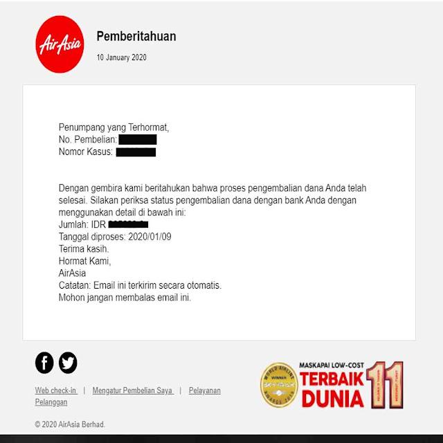 Notifikasi Refund Tiket Air Asia